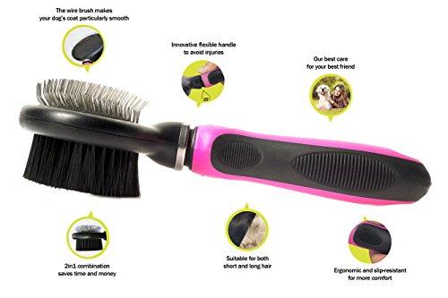 Professionelle 2-in-1 Kombi Bürste mit flexiblem Griff | Softbürste & Zupfbürste für große, mittelgroße und kleine Hunde und Katzen - 2