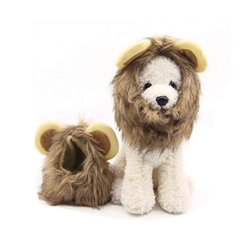 Ogquaton Pet Lustige Hüte Löwe Mähne Perücke für Haustiere, Cosplay, Kostüm, für Halloween, Weihnachten, Party, Aktivität, Dekoration, 1 Stück