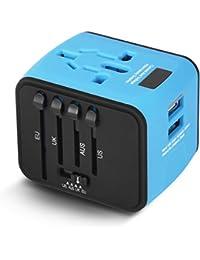 Voyage Adaptateur International avec Double Chargeur USB US / EU / UK / AUS Universel Prise de Courant Tout en un Multi-Nation Multi-prise daptateur et Chargeur