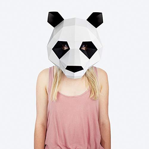Maske Panda | Masken der Tiere | Masken Basteln | Maske Herren, Damen, Kinder | Maske für Halloween, Fasching, Karneval, Party Kostüm, (Panda Kostüm Kopf Nur)