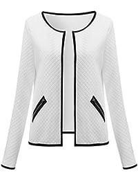 ZKOO Mujeres de Manga Larga del Enrejado del Tartán de Cardigan Jacket Outwear La Blusa