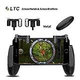 """LTC Mobile Game Controller Set, M2 schießen und zielen Taste Trigger L1R1 aus Stahl + H1 Brothers Game Halter für Survival-Spiele schießen, 4.5"""" zu 6.4"""" Smartphone - Schwarz"""