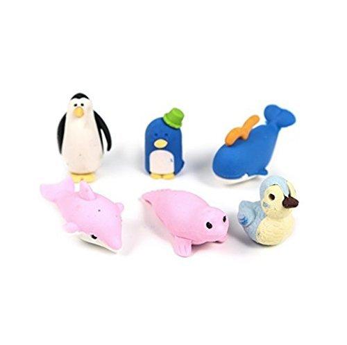 waygo 6PCS Novelty Cute Sortiment Tiere Pinguin und Seelöwen, geformtes Radiergummi-Set Spaß...