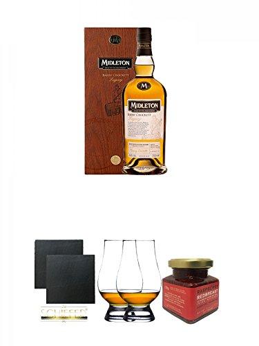 Legacy-schiefer (Midleton Barry Crockett Legacy Irish Whiskey limitiert 0,7 Liter + Schiefer Glasuntersetzer eckig ca. 9,5 cm Ø 2 Stück + The Glencairn Glass Whisky Glas Stölzle 2 Stück + Redbreast 12 Jahre Himbeere Marmelade 150 Gramm Glas)