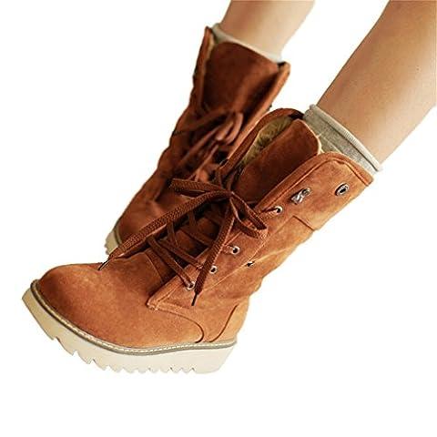 Xianshu Femmes Nubuck Bottes Lacer Plus Cachemire Chaussures (Brown-38)