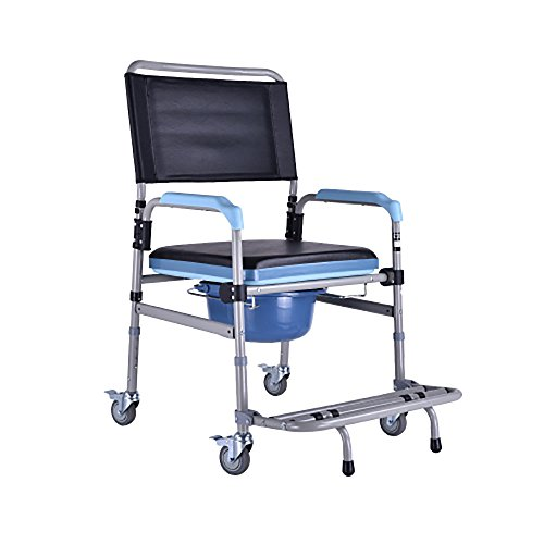 LIU UK Walker Multifunktions-älterer Stuhl/Wanderer Stahl kann gefaltet Werden justieren Höhe Rutschfeste Bad-Stuhl Größe: 57 * 52 * (85-92) cm - Cookies Wanderer