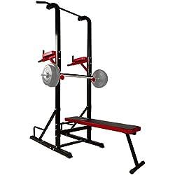CCLIFE Banc de Musculation multifonctionel - Banc muscu, Station dips, Chaise Romaine et Barre de Traction - Station Fitness - Station de Fitness - Station Fitness Multifunction