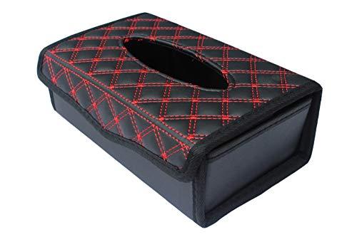 Happy Timer, Auto-Tissue-Box , Auto-Sonnenblende Tissue Holder, für Auto-Schiebedach, Sitz. Slim Tissue Box/rot schwarz (Slim-tissue-box)