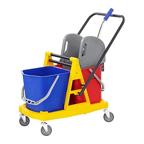 Singercon con.ct-2x carrello secchio lavapavimenti professionale con strizzatore (40 litri, materiale: plastica, ruote in gomma)
