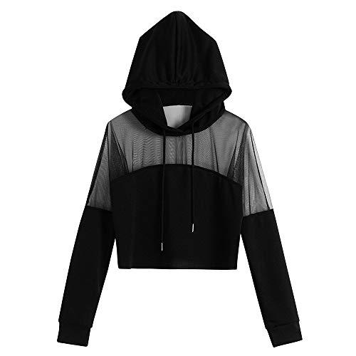 YWLINK Halloween KostüM Damen,2018 Frau Plus Size Boho Solid Bluse Splice Hoodie Mesh Langarm Kapuzenpullover