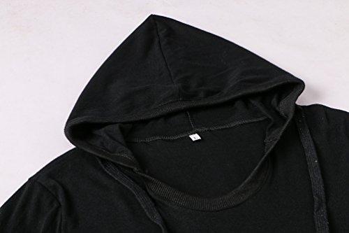 Freestyle Primavera Autunno Lunga Sottile Pullover Top Jumper Bluse Camicie T-shirt Donna Casual Felpe con Cappuccio Maglie a Manica Nero