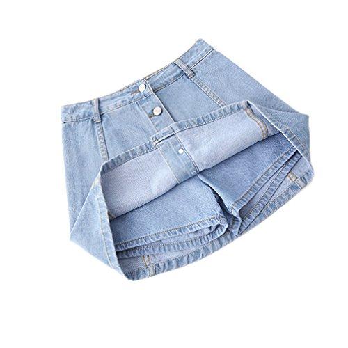 Hohe Taille Denim Shorts Röcke Frauen Sommer Culotte Jeans Rock Shorts Skort Light Blue XL - Plaid Skort Rock