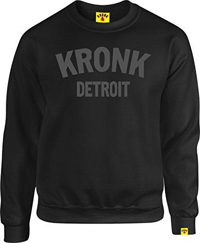Kronk Boxen Detroit Herren Sweatshirt Klitschko Hearns Gr. Large, schwarz anthrazit (Gerippt Everlast)