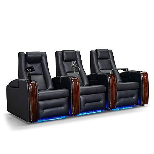 Zinea Kinosessel Sci-Fi - 3 Sitzer - Echtleder, elektrisch verstellbar, LED Becherhalter, Ambientebeleuchtung, Kinosofa, Kinositz - Sofort Lieferbar