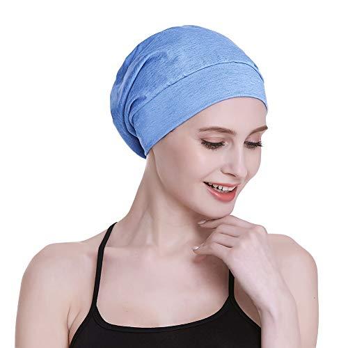 FocusCare Damen satin gefüttert schlaf slouchy cap curly slap kopfbedeckung geschenke für kraus haar eine größe passt meistens blau gesundheit grau -
