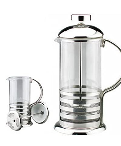 Kabalo 800ml / 8-cup Large Stainless Steel Glass Cafetiere French Filter Modern Coffee and Tea Press