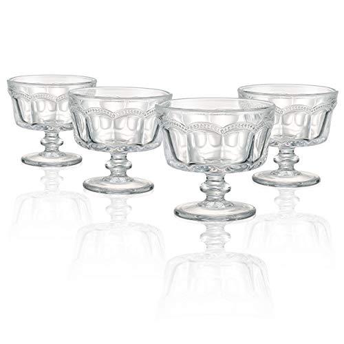Artland Pearl Ridge Dessertschalen, Glas, Farblos, 10 x 10 x 9.5 cm, 4