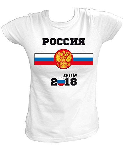 Artdiktat Damen T-Shirt - Russland Fußball Trikot Weltmeisterschaft 2018 Wunschname und -Nummer am Rücken - Rossiya - Russia Russland Fußball Größe XL, Weiß
