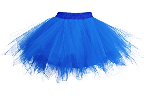 DJT Damen 50er Retro Rockabilly Swing Petticoat Ballett Tutu Unterrock Blau