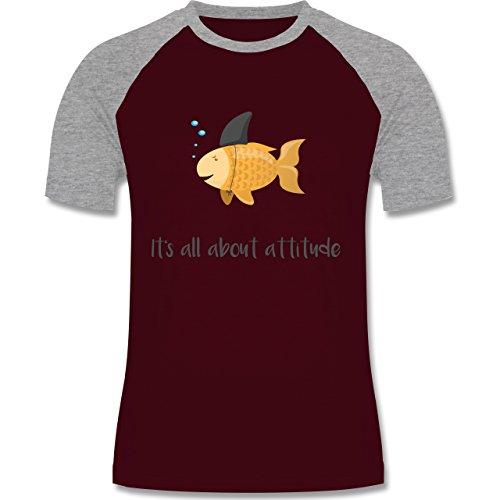 Shirtracer Statement Shirts - It's All about Attitude - Herren Baseball Shirt Burgundrot/Grau meliert