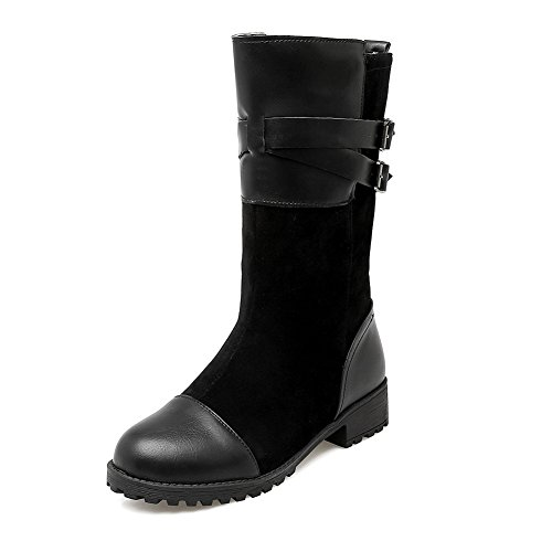 balamasa-womens-square-heels-buckle-color-matching-thick-bottom-heel-black-frosted-boots-6-uk