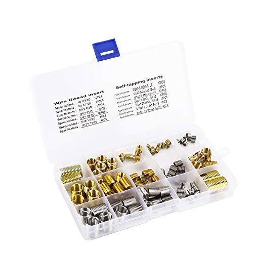 116pcs Gewindeschneideinsätze mit Gewinde und Gewindeeinsätze aus Stahldraht Kombinationsset mit Box, Gewindereparaturwerkzeug für 2D M3 / M4 / M5 / M6 / M8 / M10 / M12