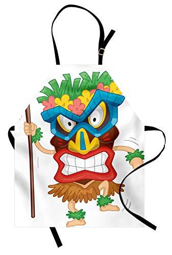 Trägt Frau Mann Alte Kostüm - ABAKUHAUS Tiki-Bar Kochschürze, Gebürtiger Mann, der EIN Masken-Illustrations-Karikatur-Stammes- Kostüm-ursprüngliches Ritual trägt, Maschienenwaschbar Wasserdicht kein Verblassen, Mehrfarbig
