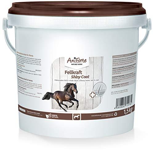 AniForte Fellkraft für Pferde 1,5 kg - glänzendes & kräftiges Fell, Glanz für Mähne & Schweif, Vitale Haut, Unterstützung Haarwachstum & Stoffwechsel, reich an Vitamin C, Naturprodukt -