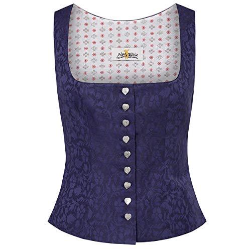 Almsach Damen Trachten-Mode Trachtenmieder Nina in Blau traditionell, Größe:48, Farbe:Blau