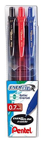 Pentel BL107 Roller Gel Energel X 0.7, Nero/Rosso/Blu