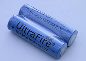 2X UltraFire 14500 Li-ion Rechargeable Batteries 3.7V, 1200mAh