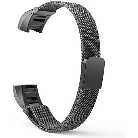 MoKo Fitbit Alta Watch Cinturino, Cinturino Milanese in Acciaio Inossidabile con Regolabile Chiusura Magnetica per Fitbit Alta Smart Fitness Tracker, NERO