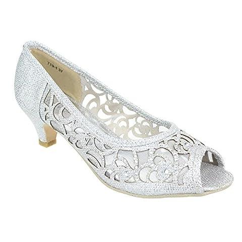 Femmes Dames Soir Fête Mariage Peeptoe Diamante Kitten-Heel Argent Sandales