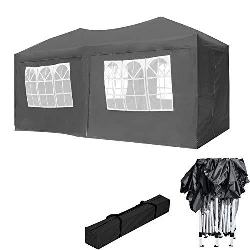 HENGMEI Gartenpavillon Faltbare Pavillon 3x6m Faltpavillon Gartenzelt Partyzelt Sonnenschutz (3x6m, mit Seitenteilen, Anthrazit)