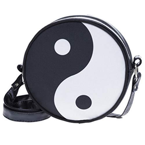 Schwarz-Weiß-Yin und Yang Taiji-Diagramm Runde Umhängetasche Damen Leder und Oxford-Stoff Reißverschlusstasche Tasche Reise Kleine Gegenstände Aufbewahrungstasche - Yang Wan