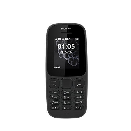 Nokia 105 Mobiltelefon (1 Zoll (2,54 cm), 4 MB ROM, Dual-Sim), schwarz