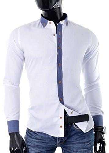D&R Fashion intelligenten Mann Hemd mit Rauten Muster und Manschettenknöpfe Weiß