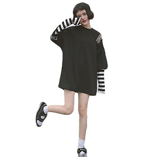 Himifashion Harajuku Mujeres Stripe Dos Falsos de Piezas de Ropa de Manga Larga Camiseta Kawaii (Black)