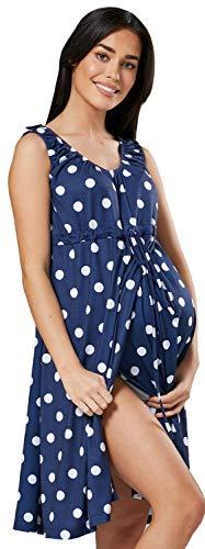 Happy Mama Damen Geburtskleid Krankenhaus Umstands Nachthemd Stillfunktion. 118p (Marinenblau mit Punkten, EU 42/44, XL)