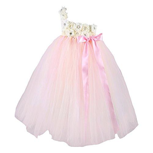 """Free Fisher Mädchen Prinzessin Brautkleid Abendkleid Tüllkleid mit """"Blumen und Schmuck, Hellpink..."""