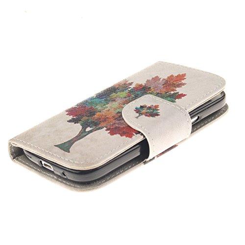 Coque iPhone 5C en Cuir,iPhone 5C Housse de Protection,Meet de Apple iPhone 5C Pliable Magnetique Portefeuille Wallet Silicone Back Étui avec Lanyard,Wallet / Case / Housse, Coque de protection en sil arbres colorés