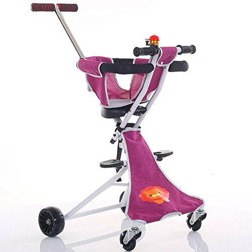Bici per bambini Guo Shop- Carrello per Bambini Leggero 2-3-4-6 Anni Viaggiare con Passeggino Pieghevole per Bambini Facile da trasportare Ruote Fuoristrada (Colore : Pink)