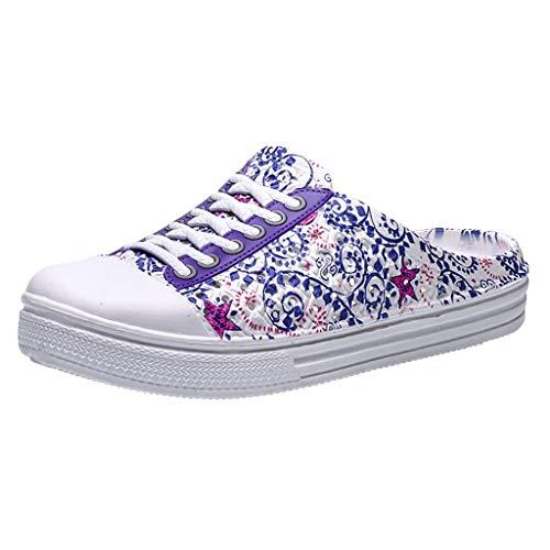 Clogs Schuhe für Damen/Dorical Frauen Hohl Gartenschuhe rutschfest Hausschuhe Sandalen Badeschuhe Strand Aqua Slippers Pantoletten Sommer Hausschuhe Ausverkauf(Z3-Blau,39 EU)