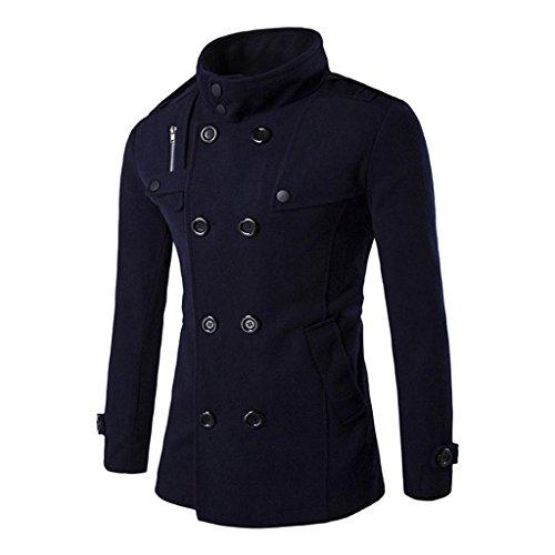 Koly_Uomini Autunno Inverno doppia fila tasto di collare di lana del cappotto (M, Marina Militare)