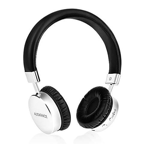 Audiance M1-BT Premium Casque d'Ecouteurs | Sans Fil Antibruit Avec Fonction Bluetooth 4.1 - Argent & Noir