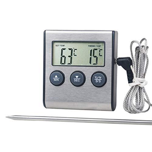 Haorw Kafen Digitales Küchenthermometer - Alarm, Lange Sonde mit LCD-Display für Lebensmittel, Grill -