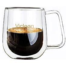 Vicloon Doble Pared de Vidrio de Borosilicato,Tazas para el Té,Café,Café