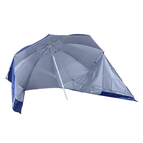 Outsunny Sonnenschirm zum Angeln, für den Strand, als UV-Schutz, Regenschutz mit Seitenpaneel, Blau