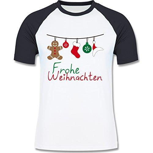 Weihnachten & Silvester - Frohe Weihnachten Girlande - zweifarbiges Baseballshirt für Männer Weiß/Navy Blau