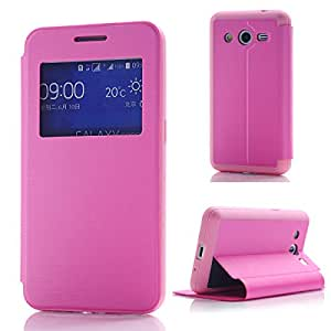 Arbalest® View Window Flip Cover PU Cuir Coque Etui pour Samsung Galaxy Core 2 II Smartphone 4.5 pouces Smartphone Pink
